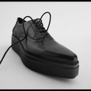 Zara Flat Platform Black Derby Shoe Size 40EU